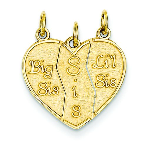 14K Yellow Gold Break Apart Big Sis Sis & Lil Sis Charm (Sister Charm Gold Big)
