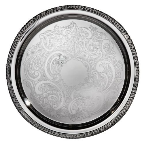Elegance Silver 8235 Hotel Collection Round Silver Plated Tray, 16