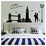 AwesomeMall DIY London The City of Dreams Removable Art Mural Vinyl Sticker Wall Art Decal WallPaper Wall stickers