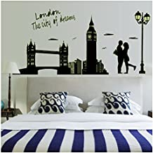 Bling2Bling DIY Fluorescent Wall Sticker Fashionable Living Room/Bedroom Wall Decals Romantic Lovers in London Bridge