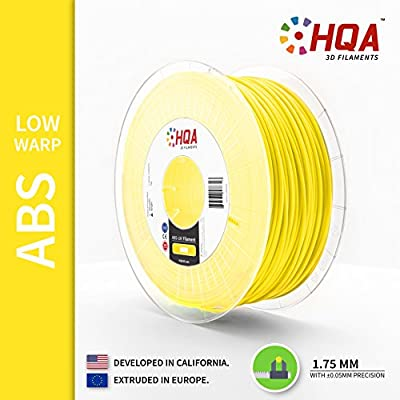 HQA ABS-LW (Low Warp) 3D Printer Filament, Yellow, 1.75MM, 1KG Spool, [Made in Europe]