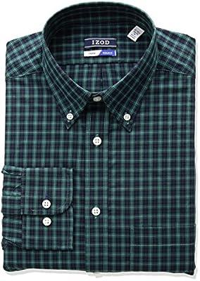 IZOD Men's Regular-Fit Plaid Button-Down Collar Dress Shirt