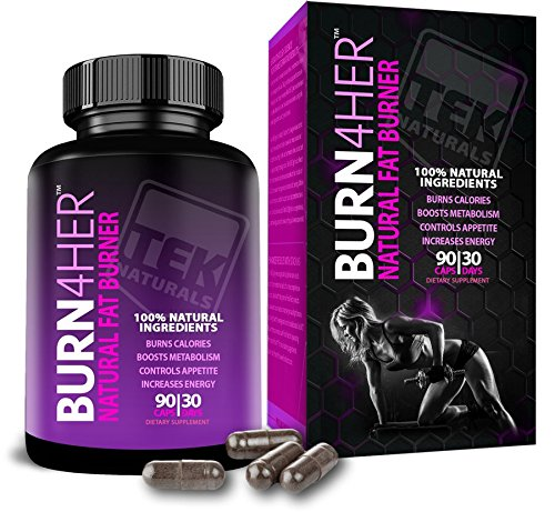 Burn4Her™ All Natural #1 Rated Fat Burner For Women- 12 Fat Burning Ingredients, 90 Pills, 30 Day Supply - Lose Weight, More Energy & More Definition (1) by TEK Naturals