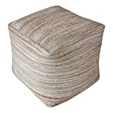 Soft Striped Golden Brown Beige Pouf | Natural Hemp Cube Seat Square Earth Tones