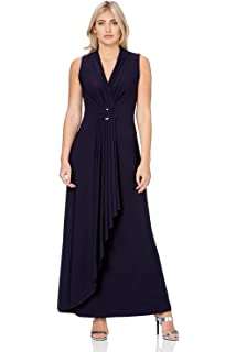 23616440b2 Roman Originals Women V-Neckline Jersey Maxi Dress - Ladies Long Jersey  Sleeveless Grecian Going