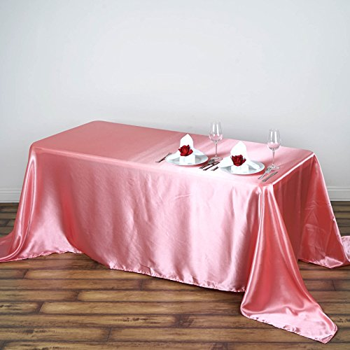 (Efavormart 90x132 Rectangle Rose Quartz Wholesale Satin Tablecloth Banquet Linen Wedding Party Restaurant Tablecloth)