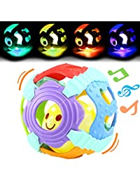 Baby Ball,Can Flashing Light and Sounds, Rattle Ball Toy With Gift Box,Yeonha Toys Grip Ball With Holes For Baby Infant Toddler Kids, Teeher Toy Durable Bendy Safety Soft Material BOBEBE Online Baby Store From New York to Miami and Los Angeles