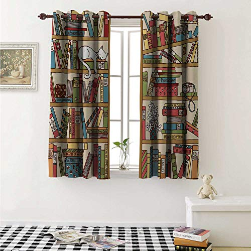 shenglv Cat Decorative Curtains for Living Room Nerd Book Lover Kitty Sleeping Over Bookshelf in Library Academics Feline Cosy Boho Design Curtains Kids Room W72 x L72 Inch Multi
