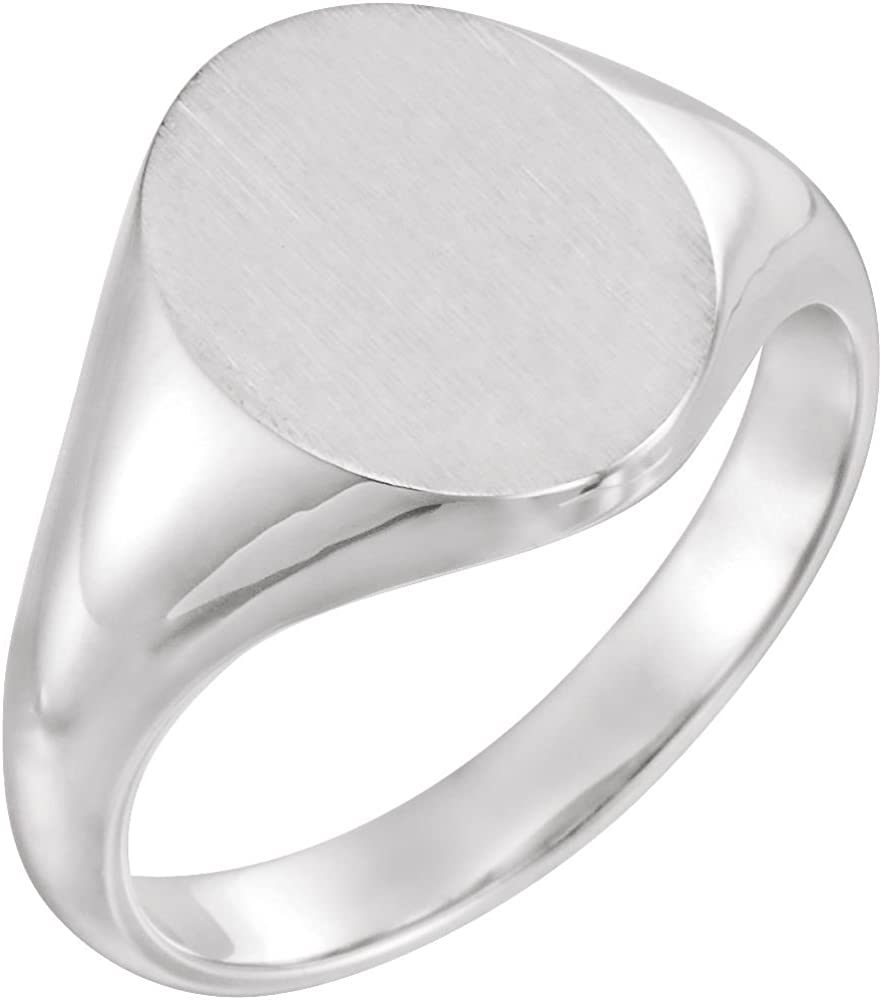 FB Jewels 925 Sterling Silver 10x8mm Mens Oval Signet Ring