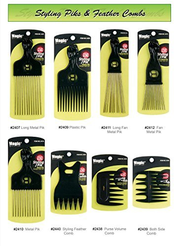 Professional Styling Combs - High Quality Detangling Brushes and Afro Piks - Smooth Finish and Heat Resistant - Magic Collection (#2410 Metal Pik (Saloon Girl Hairstyles)