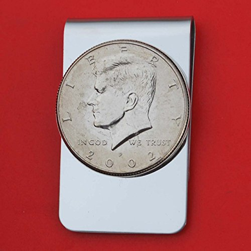 US 2002 Kennedy Half Dollar BU Uncirculated Coin Stainless Steel Money Clip NEW - Silver Plated Coin Bezel