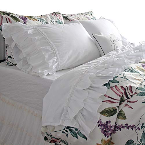 (Queen's House French Country White Ruffle Bed Sheets Sets Deep Pocket King)