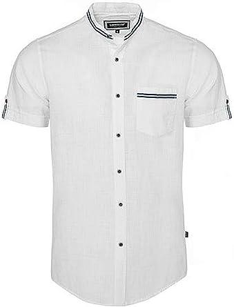 Carisma CRM9123 - Camisa de manga corta de lino con cuello alto, color blanco: Amazon.es: Ropa y accesorios