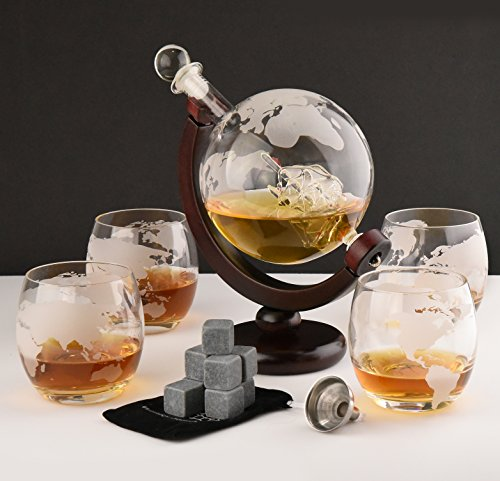 Whiskey Decanter Set with Globe Glasses - Premium Whiskey Gift Set - Etched Globe Decanter for Scotch, Bourbon or Liquor - 850ml Wine Decanter Set + 9 Bonus Ice Stones - Glass Decanter with Gift Box 750ml Gift Box