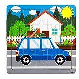 Facial Recognition Os X - DZT1968 1set/20pc Cartoon animal car Wooden Puzzle Educational Developmental Kids Training Toy (c)