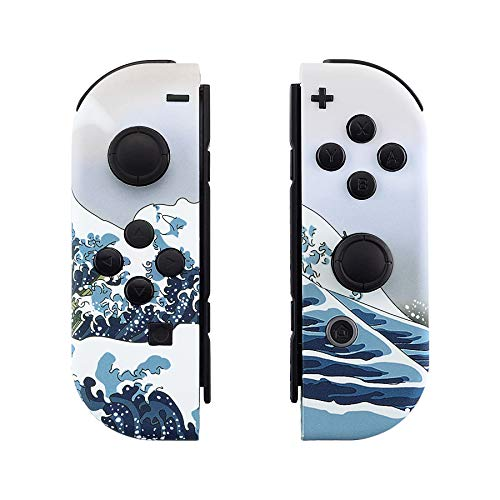 eXtremeRate The Great Wave Patterned Joycon Handheld Controller Housing with Full Set Buttons, Soft Touch Grip DIY Replacement Shell Case for Nintendo Switch Joy-Con - Console Shell NOT Included from eXtremeRate