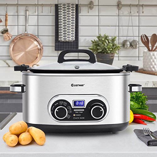 (COSTWAY 4-in-1 Multi Cooker, 6 Quart Countdown Programmable Portable Oval Stainless Steel Slow Cooker with Digital Timer, Steamer, Stove Top & Oven with Steaming Rack and Fork)