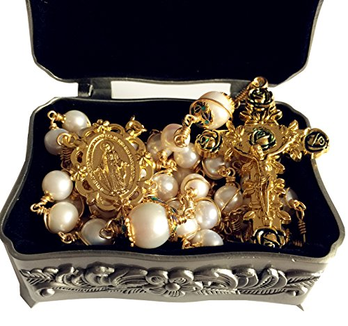 elegantmedical Handmade Rosary Plated Gold Wire Wrapped Bead AAA+ White Real Pearl Catholic Necklace Cross Gift Box by elegantmedical (Image #1)