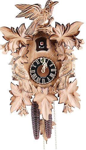 German Cuckoo Clock 1-day-movement Carved-Style 14.00 inch - Authentic black forest cuckoo clock by ()