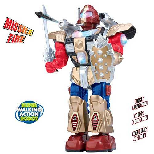 Liberty Imports Galactic Space Warrior Action Robot Toy | Flashing Lights and Sounds, Walking, Talking, and Shoots Missiles | Ideal Gift for Kids, Boys