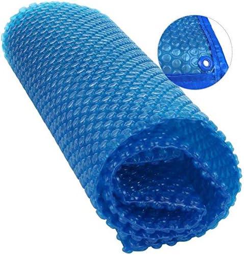 ターポリン グロメット付きプール安全カバー、インフレータブルプール用の大きなテラスソーラー暖房ブランケット、防雨防塵 (Color : Blue, Size : 3×4 m(9.84×13 ft))