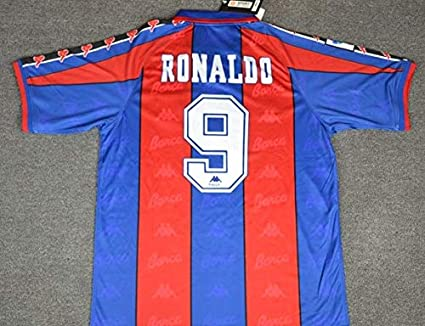 fa1786149 Amazon.com   Retro Ronaldo 9 Barcelona Home Soccer Jersey 1996 ...