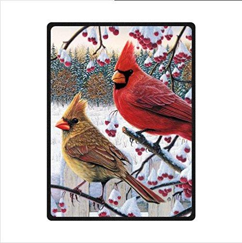 Funny red Cardinal bird art,cute birds design Fleece Blankets and throws 58 X 80 inch -