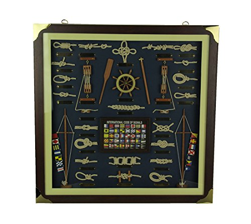 Zeckos Nautical Knotboard with Signal Flags in Classic Wood Frame ()