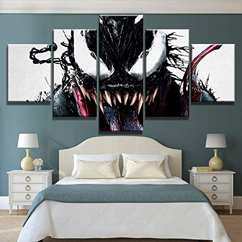 (kkxdp Framed 5 Piece Hd Print Large Venom Marvel Comics Poster Painting Canvas Wall Art Picture Home Decoration Living Room Canvas Painting-B)