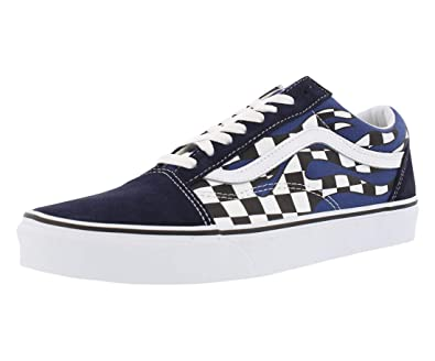 f6c25b2db36 Vans Old Skool Checker Flame Navy Blue White Skateboarding Shoes (13.5  Women   12 Men