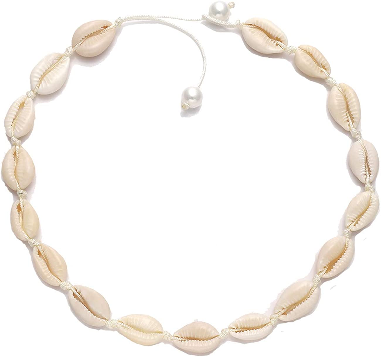 MILIMI Shell Choker Necklace Natural Cowrie Pearls Seashell Necklace Adjustable Handmade Cored Bracelet Hawaiian Beach Jewelry Set for Women Girl