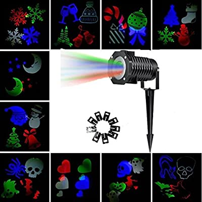 2017 New Year Projector Light Leaton Outdoor Automatically Waterproof Projector Snowflake Spotlight Lamp Show for Halloween,Holiday,Party,Landscape,and Garden Decoration,10PCS Pattern Lens Light