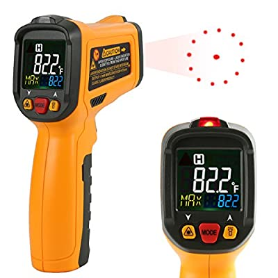 Infrared thermometer Janisa PM6530B Non Contact Digital Laser Thermometer Temperature Gun Circle Color Display -50? to 550? With 12 Point Aperture Temperature Alarm Function