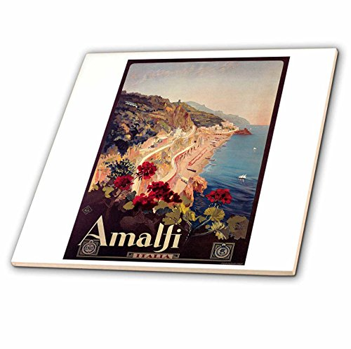 3dRose Vintage Amalfi Italia Italy Travel Poster - Ceramic Tile, 8-inch (ct_126001_3) by 3dRose