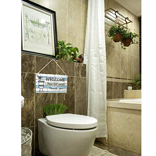"""Calien Funny Bathroom Signs Please Seat Yourself Welcome Sign 13.5"""" x 7.5"""" Hanging Wall Art Sign Home Bathroom Decor"""