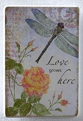 Roman Pack of 4 Love Grows Here Dragonfly Wall Art Plaques