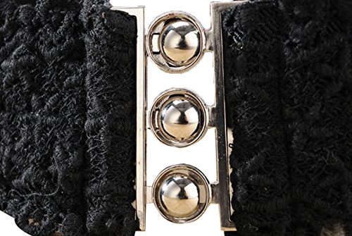 TRENDY XU Lace Wide Decorative Waist Belts Elastic Interlocking Buckles Waistband (Black) by Dress Waistbands Belt (Image #4)