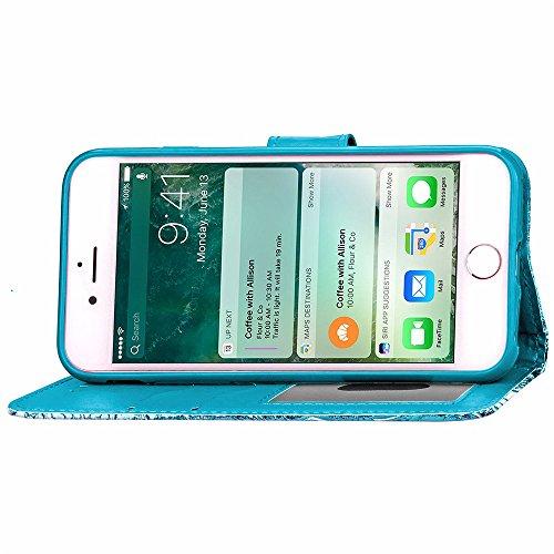 JIALUN-carcasa de telefono Cubierta del iPhone 7, caja de cuero de la PU de la cubierta de TPU, caja de ventana de la foto del caso del soporte de la cartera del estampado de plores para el iPhone 7 ( Blue