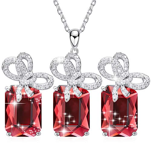 (CDE Jewelry Set Butterfly Embellished with Crystals from Swarovski Women Pendant Necklaces and Earrings Sterling Silver Gift for Mothers Day)