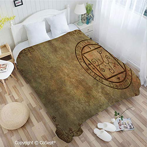 (PUTIEN Lightweight Cozy Flannel Blanket,Ancient Textured Mystic Occult Sigil Seal Icon Over Distressed Old Background Decor,for Bed,Couch,Car(72.83