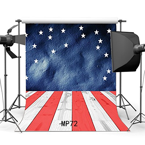 Gladbuy 10X10FT Stage Backdrop Twinkle Star Blue Paint Blurry Grunge Wallpaper Red and Shabby Stripes Wood Plank Vinyl Photography Background Kids Adults Happy Birthday Party Photo Studio Props MP72