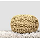 RAJRANG Cotton Braided Cord Stuffed Ottoman Ivory Floor Pouf Modern Small Space Patio Seating Footstool Children Room Furniture, 19×13 Review