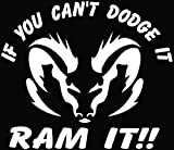 dodge ram truck decals - Can't Dodge It Ram It Car Truck Window Bumper Vinyl Graphic Decal Sticker- (6 inch) / (15 cm) Wide GLOSS WHITE Color