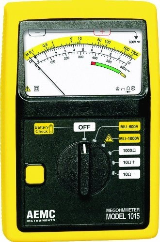 AEMC 1015 Analog Megohmmeter, 1000 Ohms Resistance, 500V, 1000V Test Voltage, 200mA Current by AEMC