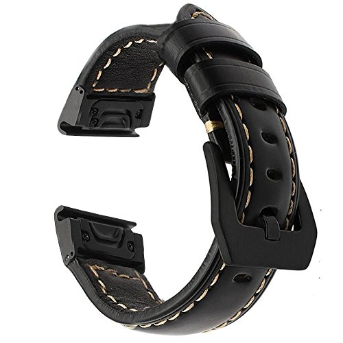 Azadodo fenix 5X fenix 3 Watch Band, Quick Fit Real Leather Band for Garmin Fenix 5X, Fenix 5X Plus, Descent Mk1, D2 Charlie, Quatix 3, Fenix 3 HR, Fenix 3, (Charlie Band)