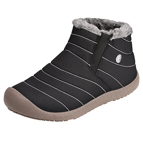 SANMIO Warm Snow Boots, Winter Fur Lining Ankle Boots, Thickening Winter Outdoor Slip On flats Shoes