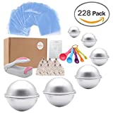 Bath Bomb Mold Set 228 Pieces – 200 Packs Shrink Wrap Bags,12 Pieces of DIY Metal Mould,Spoons,Gift Bags,Mini Heat Sealer (Instruction Included)