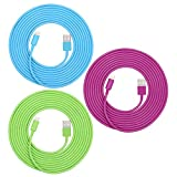 SEGMOI(TM) 3Pack 3 Meter 10Ft Lightning 8Pin to USB Charging Cable Charger Cord for Apple iPhone 5, 5C, 5S, iPhone 6, 6 Plus, iPad 4, iPad Mini, iPod Touch 5 and Nano 7 (Hot Pink,Green,Blue)