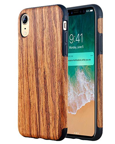 (Lontect Compatible iPhone Xr Case Slim Matte Shock Absorbing Flex TPU Non Slip Wood Tactile Extra Grip Rubber Bumper Case Cover for Apple iPhone Xr 2018 6.1