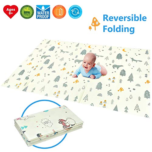 "Folding Play Mat | BPA Free Non-Toxic Foam Baby Playmat 78.7"" x 59"